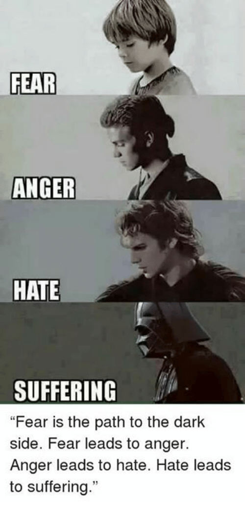 fear anger hate suffering fear is the path to the 21375545 ✅ 25 best memes about fear leads to anger fear leads to anger,Fear Leads To Anger Meme