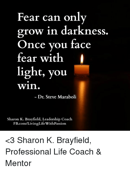 Memes, 🤖, and Life Coach: Fear can only  grow in darkness  Once you face  fear with  light, you  Win.  Dr. Steve Maraboli  Sharon K. Brayfield, Leadership Coach  FB.com/LivingLifeWithPassion <3 Sharon K. Brayfield, Professional Life Coach & Mentor
