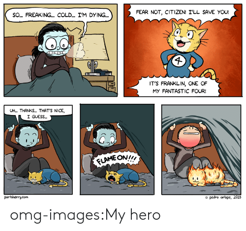 """Fantastic Four, Omg, and Tumblr: FEAR NOT, CITIZEN! I'LL SAVE YOU!  SO... FREAKING... COLD... I'M DYING..  IT'S FRANKLIN, ONE OF  MY FANTASTIC FOUR!  UH... THANKS... THAT'S NICE  I GUESS...  う  LAME ON"""",  portsherry.com  pedro arizpe, 2015 omg-images:My hero"""