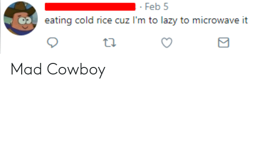Lazy, Cold, and Cowboy: Feb 5  eating cold rice cuz I'm to lazy to microwave it Mad Cowboy