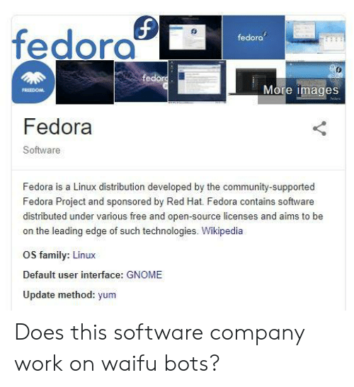 Fedora Fedora More Images Fedora Software Fedora Is a Linux