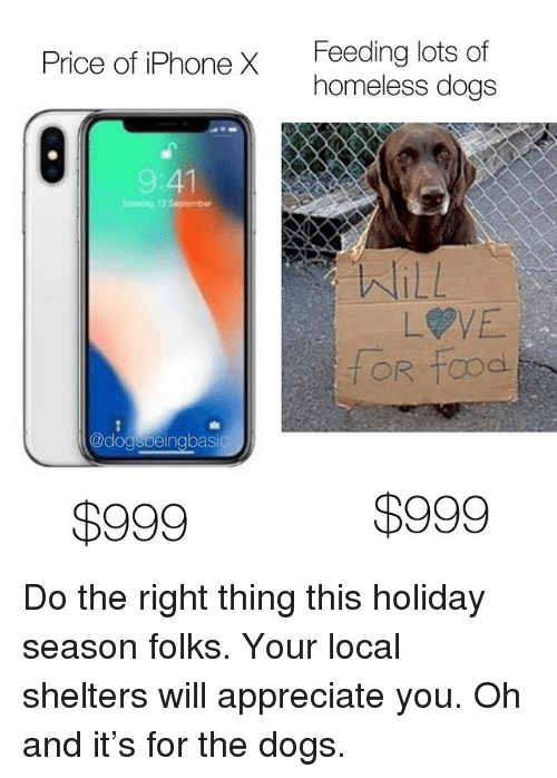 Dogs, Homeless, and Iphone: Feeding lots of  homeless dogs  Price of iPhone X  9:41  WILL  LVE  @dogspeingbasi  $999  $999 Do the right thing this holiday season folks. Your local shelters will appreciate you. Oh and it's for the dogs.