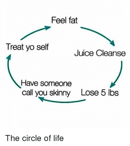 Funny, Juice, and Life: Feel fat  Treat yo self  Juice Cleanse  Have someone  call you skinny  Lose 5 lbs The circle of life