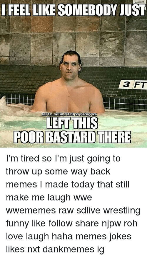 Funny, Love, and Memes: FEEL LIKE SOMEBODY JUST  3 FT  POOR BASTARD THERE I'm tired so I'm just going to throw up some way back memes I made today that still make me laugh wwe wwememes raw sdlive wrestling funny like follow share njpw roh love laugh haha memes jokes likes nxt dankmemes ig