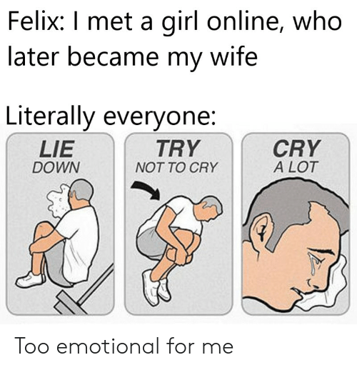 Girl, Wife, and Who: Felix: I met a girl online, who  later became my wife  Literally everyone:  CRY  A LOT  LIE  TRY  DOWN  NOT TO CRY Too emotional for me