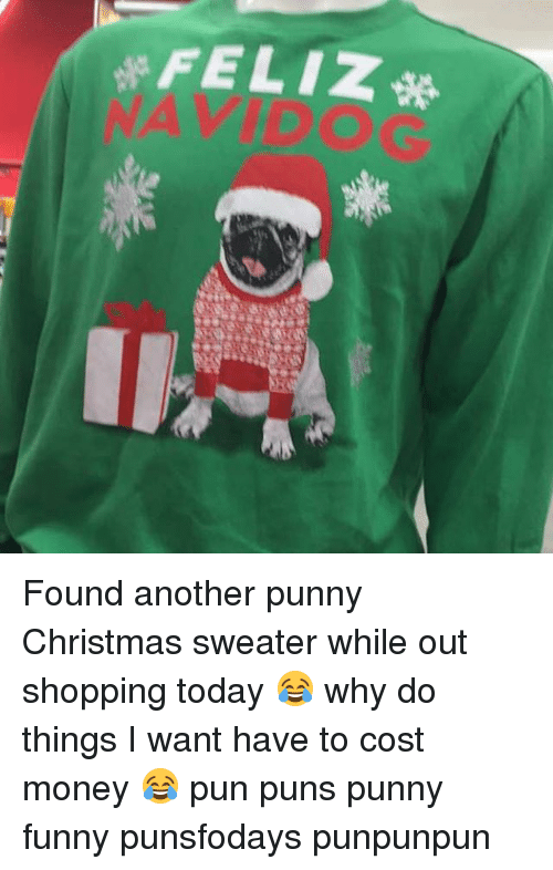 Dog Christmas Puns.Feliz串 Wy Found Another Punny Christmas Sweater While Out