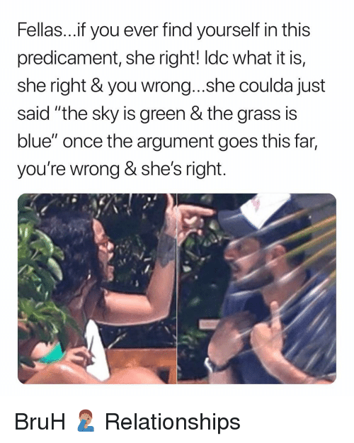 """Bruh, Relationships, and Blue: Fellas...f you ever find yourself in this  predicament, she right! ldc what it is,  she right & you wrong...she coulda just  said """"the sky is green & the grass is  blue"""" once the argument goes this far,  you're wrong & she's right BruH 🤦🏽♂️ Relationships"""