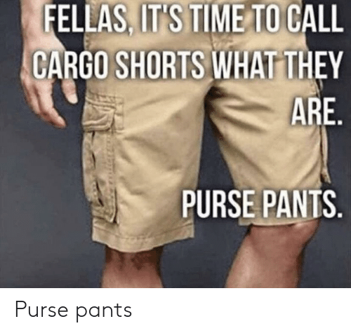 Time, Terrible Facebook, and Cargo Shorts: FELLAS, IT'S TIME TO CALL  CARGO SHORTS WHAT THEY  ARE  PURSE PANTS Purse pants