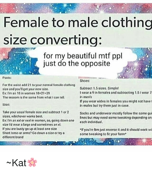 Female To Male Clothing Size Converting For My Beautiful Mtf Ppl