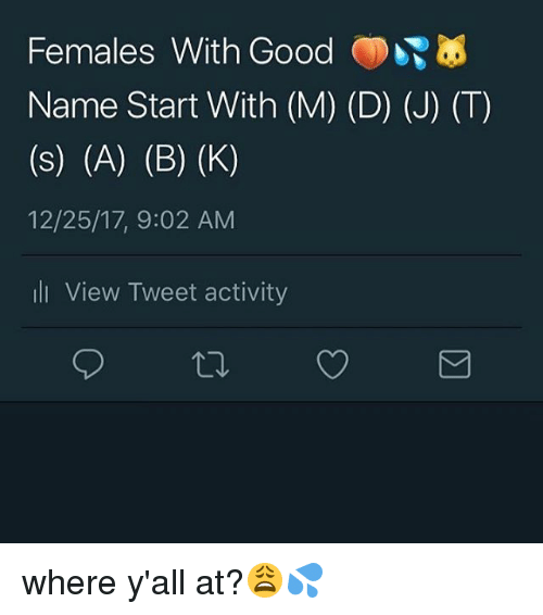 Memes, Good, and 🤖: Females With Good  Name Start With (M) (D) (J) (T)  12/25/17, 9:02 AM  li View Tweet activity where y'all at?😩💦