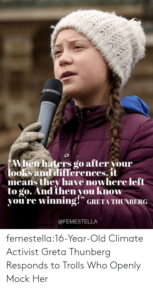 Target, Tumblr, and Blog: femestella:16-Year-Old Climate Activist Greta Thunberg Responds to Trolls Who Openly Mock Her