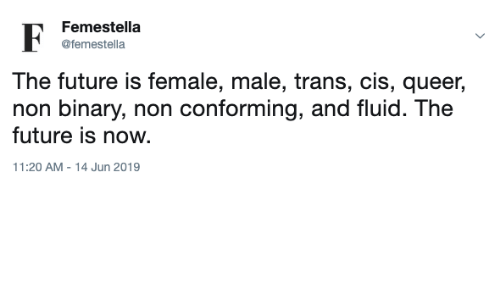 Future, Cis, and Queer: Femestella  @femestella  The future is female, male, trans, cis, queer  non binary, non conforming, and fluid. The  future is now  11:20 AM - 14 Jun 2019