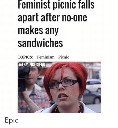 Feminist Picnic Falls Apart After No-One Makes Any Sandwiches TOPICS Feminism Picnic Epic | Feminism Meme on ME.ME