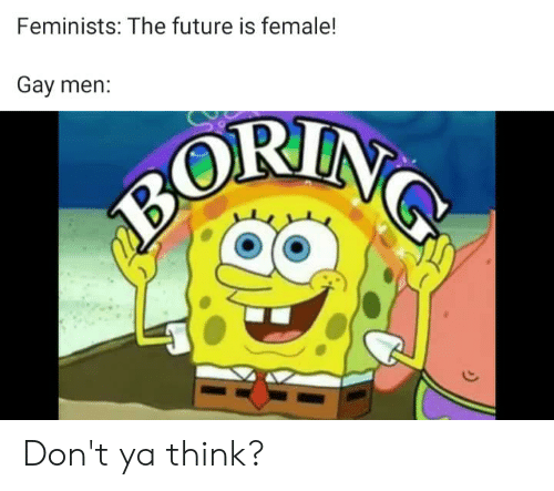 Future, Dank Memes, and Gay: Feminists: The future is female!  Gay men:  BORIN Don't ya think?