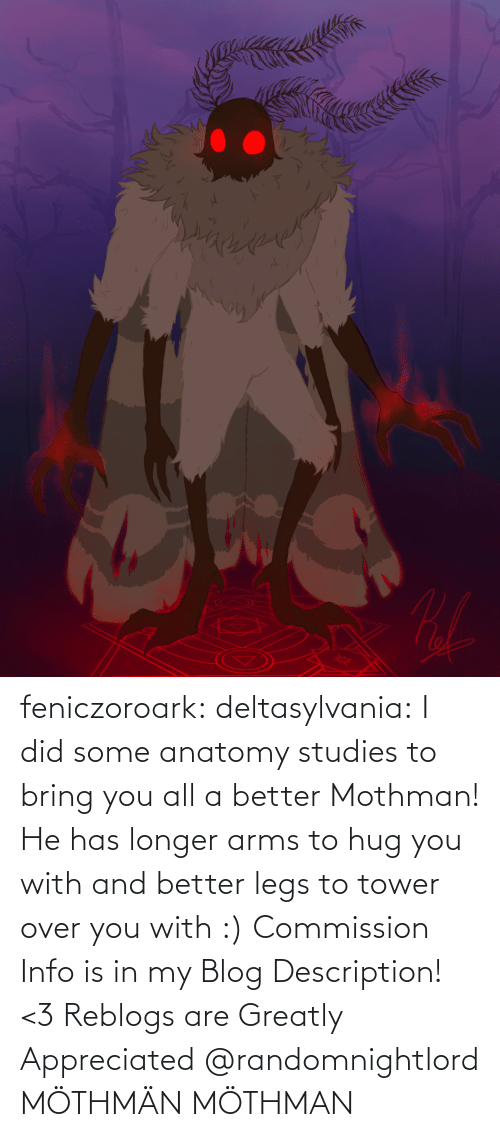 Tumblr, Blog, and Arms: feniczoroark:  deltasylvania:  I did some anatomy studies to bring you all a better Mothman! He has longer arms to hug you with and better legs to tower over you with :) Commission Info is in my Blog Description! <3 Reblogs are Greatly Appreciated    @randomnightlord MÖTHMÄN   MÖTHMAN
