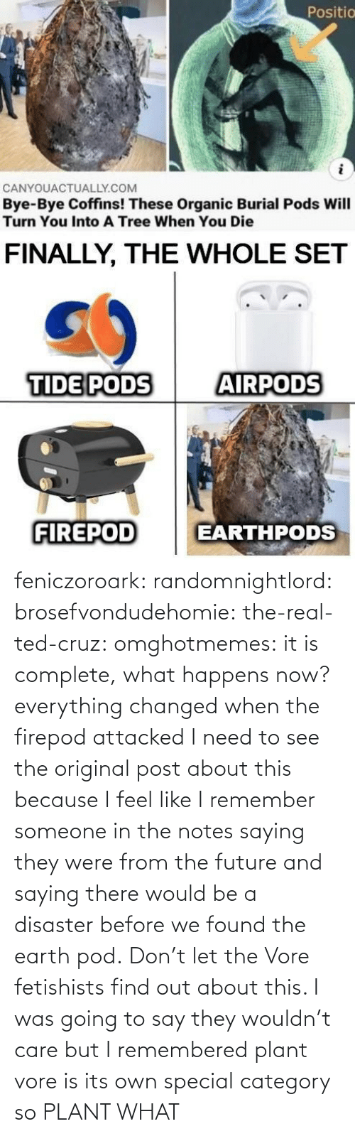 Future, Ted, and Ted Cruz: feniczoroark:  randomnightlord:  brosefvondudehomie: the-real-ted-cruz:  omghotmemes: it is complete, what happens now? everything changed when the firepod attacked    I need to see the original post about this because I feel like I remember someone in the notes saying they were from the future and saying there would be a disaster before we found the earth pod.    Don't let the Vore fetishists find out about this.    I was going to say they wouldn't care but I remembered plant vore is its own special category so   PLANT WHAT