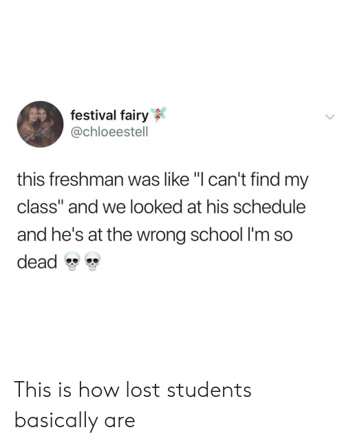 """School, Lost, and Schedule: festival fairy  @chloeestell  this freshman was like """"I can't find my  class"""" and we looked at his schedule  and he's at the wrong school I'm so  dead This is how lost students basically are"""