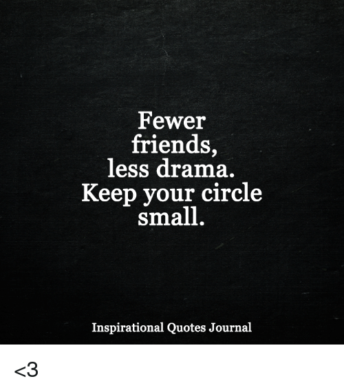 Small Quotes | Fewer Friends Less Drama Keep Your Circle Small Inspirational Quotes