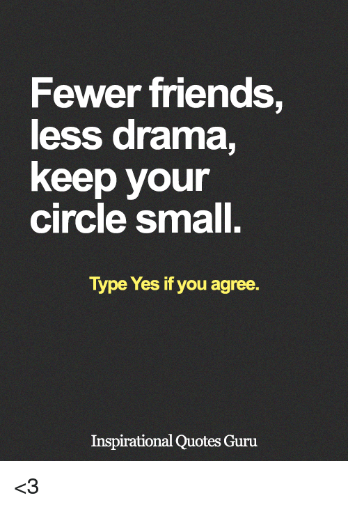 Fewer Friends Less Drama Keep Your Circle Small Type Yes It You
