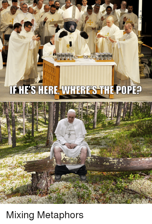 Pope Francis, The Pope, and  Metaphors: FHE'S HERE, VWHERE S THE POPE? Mixing Metaphors