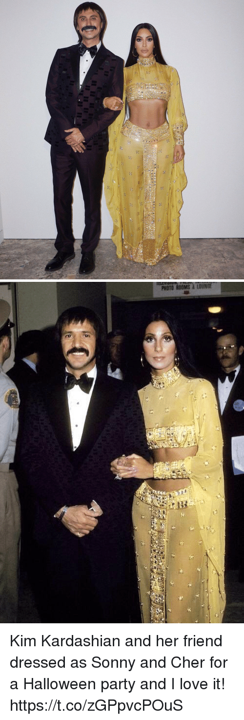 Cher, Halloween, and Kim Kardashian: FHr   PHOTO ROOMS&LOUNGE Kim Kardashian and her friend dressed as Sonny and Cher for a Halloween party and I love it! https://t.co/zGPpvcPOuS