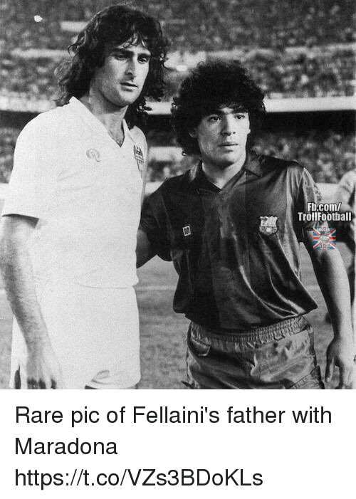 Memes, 🤖, and Com: Fi.com  TrollFoothall Rare pic of Fellaini's father with Maradona https://t.co/VZs3BDoKLs
