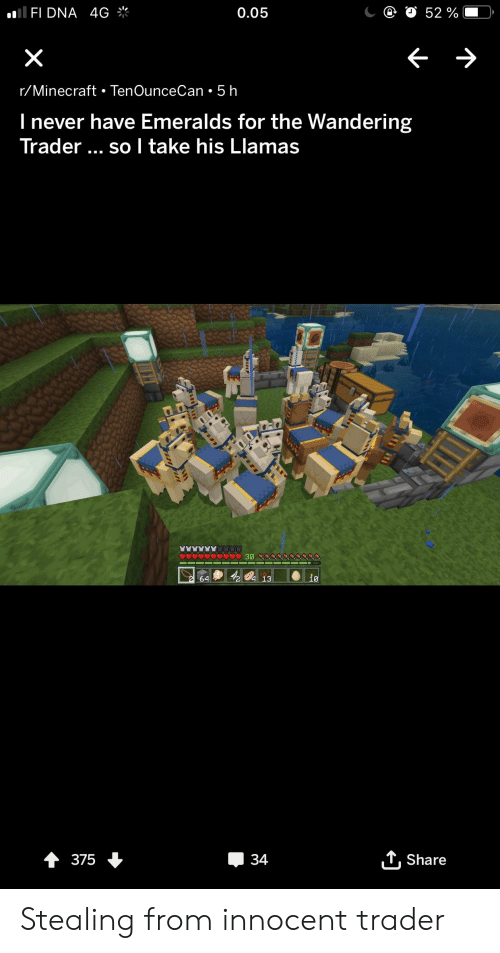 Minecraft, Never, and Trashy: FI DNA 4G  0.05  r/Minecraft TenOunceCan 5 h  l never have Emeralds for the Wandering  Trader so I take his Llamas  64  L Share Stealing from innocent trader