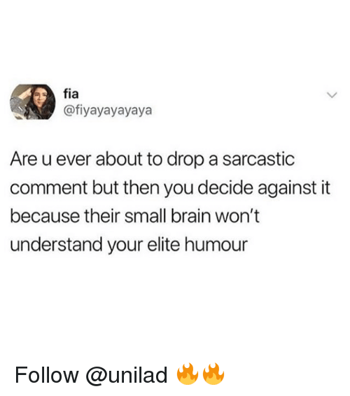 Memes, Brain, and 🤖: fia  @fiyayayayaya  Are u ever about to drop a sarcastic  comment but then you decide against it  because their small brain won't  understand your elite humour Follow @unilad 🔥🔥