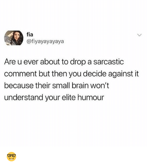 Memes, Brain, and 🤖: fia  @fiyayayayaya  Are u ever about to drop a sarcastic  comment but then you decide against it  because their small brain won't  understand your elite humour 🤓