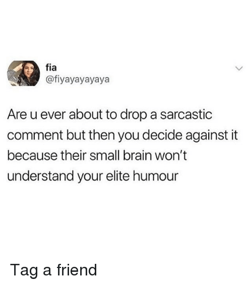 Memes, Brain, and 🤖: fia  @fiyayayayaya  Are u ever about to drop a sarcastic  comment but then you decide against it  because their small brain won't  understand your elite humour Tag a friend