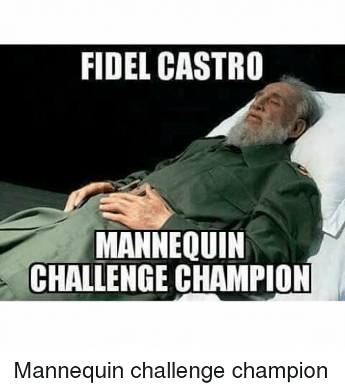 Fidel Castro, Mannequin, and Toosoon: FIDEL CASTRO  MANNEQUIN  CHALLENGE CHAMPION Mannequin challenge champion