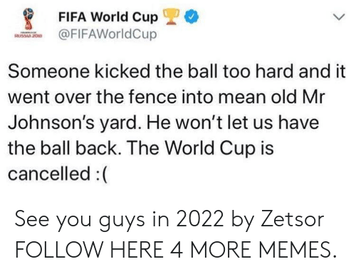 Dank, Fifa, and Memes: *  FIFA World Cup  FIFAWorldCup  Someone kicked the ball too hard and it  went over the fence into mean old Mr  Johnson's yard. He won't let us have  the ball back. The World Cup is  cancelled :( See you guys in 2022 by Zetsor FOLLOW HERE 4 MORE MEMES.