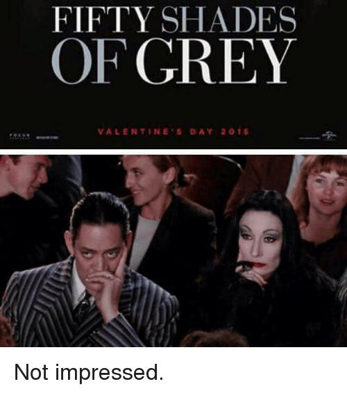 Fifty Shades of Grey, Valentine's Day, and Grey: FIFTY SHADES  OF GREY  VALENTINE'S DAY 2015s Not impressed.