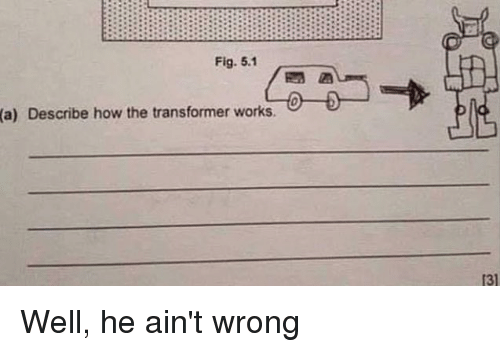 Dank, 🤖, and How: Fig. 5.1  (a)  Describe how the transformer works.  131 Well, he ain't wrong