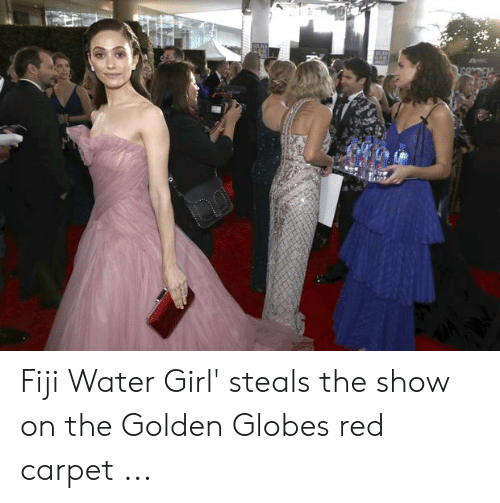 Fiji Water Girl Steals The Show On The Golden Globes Red