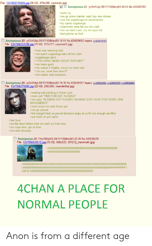 """4chan, Dinosaur, and Fall: File: 1347865735909.jpg-(58 KB, 470x300, caveman.jpg)  a  Anonymous (ID: yrOWUlp) 09/17/12(Mon)03:08:55 No.425628783  wake up  me go stone market, want buy new stones  >see hot ungabungas in stonemarket  try speak ungabunga  mammoth meat fall out loin cloth  me run back cave, cry me eyes out  >berrypicker as fuck  Anonymous (ID: yrOWUlp) 09/17/12(Mon)03:15:51 No.425629652 Replies: 2425630183  File: 1347866151706.jpg-(11 KB, 177x177, caveman1.jpg)  hide near watering hole  >me watch ungabunga take off loin cloth  >ungabunga catch  """"YOU WANT MAKE GRUNT WITH ME?""""  >me make grunt  >me realize it Ogaba, cousin on mom side  >""""oh sun, what have done?!""""  not matter, had snoosnoo  Anonymous (ID: yrOWUlp) 09/17/12(Mon)03:19:35 No.425630157 Replies: >425630581 425630753 425630884  File: 1347866375685 jpg-(22 KB, 250x300, neanderthal.jpg)  reading wall painting in 4chan cave  mom yell """"TIME FOR EAT, NUGNUG""""  me reply """"NUGNUG NOT HUNGRY, NUGNUG STAY HERE FIVE MORE SUN  MOVEMENTS""""  mom insist me walk house pet  >me go outside  >hot sungod heat up ground because angry at us for not enough sacrifice  >put leash on pet raptor  feet burn  me fall down before even me walk out front door  >me open door, get on floor  me walk dinosaur  Anonymous (ID: FkuVOUaW) 09/17/12(Mon)03:22:20 No.425630529  File: 1347866540512.jpg-(72 KB, 800x533, 091212_mammoth.jpg)  WRRRRRRRRRRRRRRRRRRWRRRRRRRRRRRRRRRRR  >WRRRRRRRR RRRRRRRR  >WRRRRRWWW  WRRRRRRRRRR  wwwwwwwwWWRRRRRRR  RRRRRRRRRRRRRRRRP P PP PPPPFT  MFW WRRRRRR  RRRRR  4CHAN A PLACE FOR  NORMAL PEOPLE Anon is from a different age"""