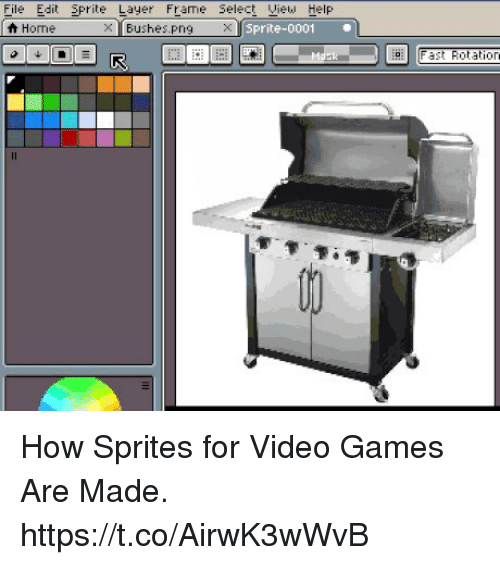 File Edit Prite Layer Frame Select Iew Help Home BushesPng X Sprite ...