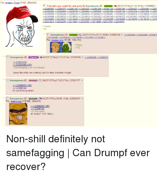 4chan, Definitely, and Fucking: File  mages (3  jpg (9 KB, 206x244)  Post who you voted for and your lQ Anonymous (ID: @TTAbo) hu) 17:20:49 No. 123090050  123090867 123091177 e 123091189 -123091207 123091284 123091338 123091368 123091423 123091448 12309  123092282 123095698 123095708 123096433 123096947 123097050 123097166 123097234 123097265 12309  123098846 123099090 123099143 123099305 >>123099514 >>123099691 >123099823 123099979 123100000 12310  123104003 123104017 123104046 123104320 >>123104396 >>123104508 >>123104580 >>123104878 123105180 12310  123112818 123112935 123113661 -123113783 12311 4884 123115765 123115974  Trump  >95  Anonymous (ID  azITAbo) (Thu) 17:21:30 No. 123090140 123090399 123090406 1230911  123100898 123104046 123104508 123107685 123109512  File: images png (16 KB, 318x159)  Hillary  >172  Anonymous (ID  MgasseMA 04/27/17Thu)17:23:07 No. 123090406 123091006 123096731  123090140  123090050 (OP  Samefagging your own thread  Jesus the shills are working hard for their sheckles tonight.  Anonymous (ID: 3hh16p2f  04/27/17Thu)17:28:17 No. 123091177  123090050 (OP  123090140  lol you fucking retard  Anonymous (ID: asu3Jyoe au 04/27/17Thu)18:05:13 No. 123096947  File: begins  png (138 KB, 349x415)  123090050 (OP  123090140  >ID the same  AT LEAST TRY SHILL