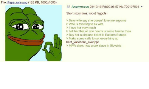 4chan, Ex's, and Love: File  Pepe are png (128 KB, 1000x1000)  Anonymous 08/19/16(Fri)09:08:57 No.700197593  Short story time, robot faggots:  Sexy wife say she doesn't love me anyome  Wife is evolving to ex wife  I love her very much  Tell her that all she needs is some time to think  Buy her a airplane ticket to Eastern Europe  Make some calls to set everything up  best vacations ever ppt  MFW she's now a sex slave in Slovakia
