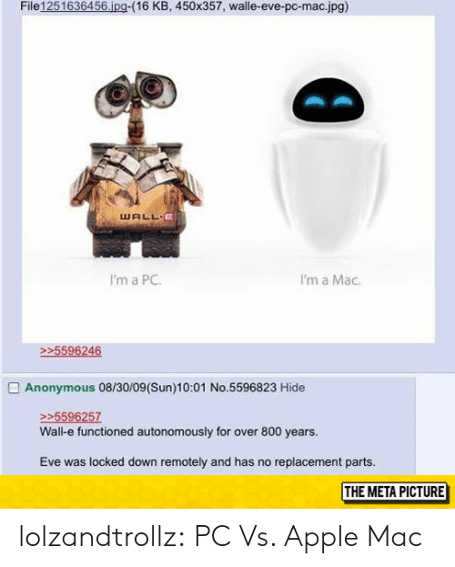 Apple, Tumblr, and Anonymous: File1251636456 ipg-(16 KB, 450x357, walle-eve-pc-mac.jpg)  WALL E  I'm a PC  I'm a Mac  5596246  Anonymous 08/30/09(Sun)10:01 No.5596823 Hide  >5596257  Wall-e functioned autonomously for over 800 years.  Eve was locked down remotely and has no replacement parts.  THE META PICTURE lolzandtrollz:  PC Vs. Apple Mac