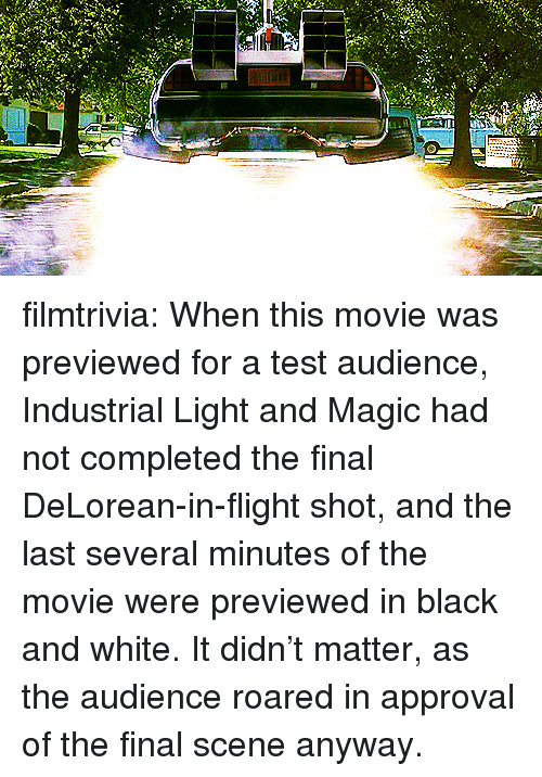 DeLorean, Target, and Tumblr: filmtrivia:  When this movie was previewed for a test audience, Industrial Light and Magic had not completed the final DeLorean-in-flight shot, and the last several minutes of the movie were previewed in black and white. It didn't matter, as the audience roared in approval of the final scene anyway.