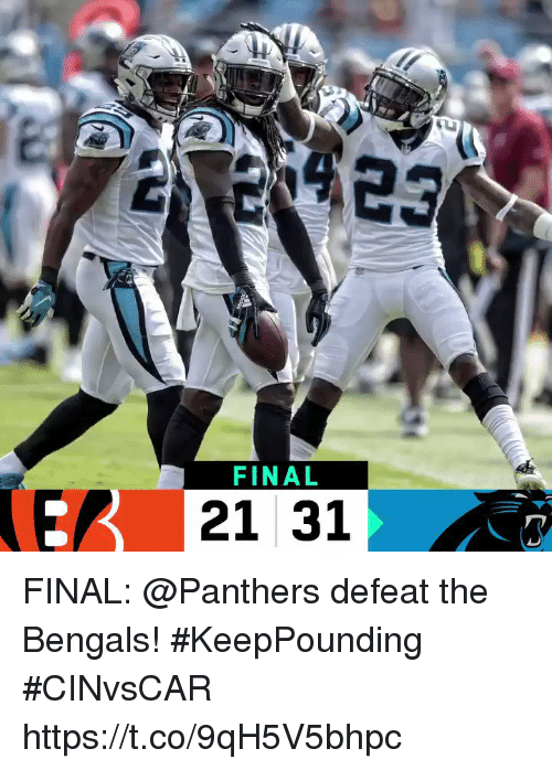 Memes, Bengals, and Panthers: FINAL  E 21 31 FINAL: @Panthers defeat the Bengals! #KeepPounding #CINvsCAR https://t.co/9qH5V5bhpc