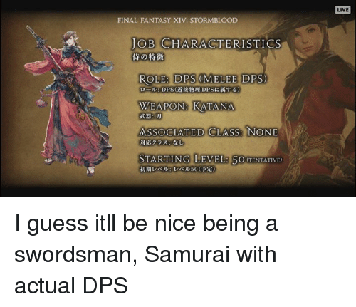 Final Fantasy Xiv Stormblood Job Characteristics Role Dps Melee D