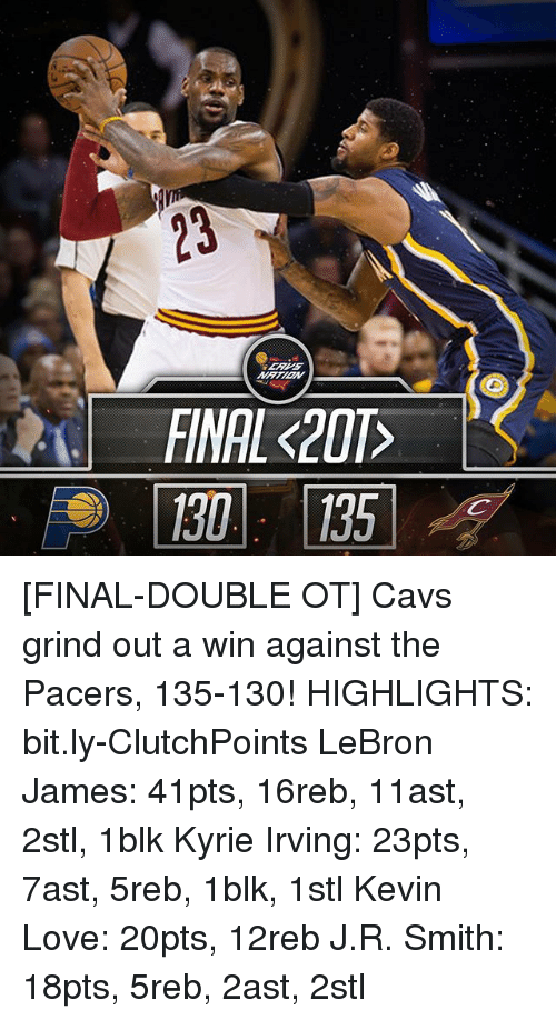 more photos e89da b39a9 FINAL K201 FINAL-DOUBLE OT Cavs Grind Out a Win Against the Pacers 135-130!  HIGHLIGHTS Bitly-ClutchPoints LeBron James 41pts 16reb 11ast 2stl 1blk  Kyrie ...