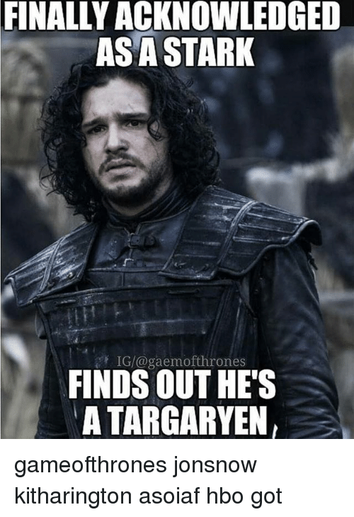 Hbo, Memes, and Asoiaf: FINALLY ACKNOWLEDGED  AS A STARK  FINDS OUT HES  A TARGARYEN gameofthrones jonsnow kitharington asoiaf hbo got