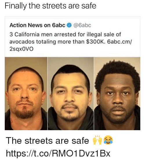 News, Streets, and California: Finally the streets are safe  Action News on 6abc  @6abc  3 California men arrested for illegal sale of  avocados totaling more than  $300K. 6abc.cm/  2sqx0VO The streets are safe 🙌😂 https://t.co/RMO1Dvz1Bx