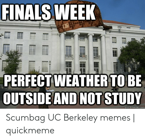 Finals, Memes, and Weather: FINALS WEEK  PERFECT WEATHER TO BE  OUTSIDE AND NOTSTUDY  eme.com  qu Scumbag UC Berkeley memes | quickmeme