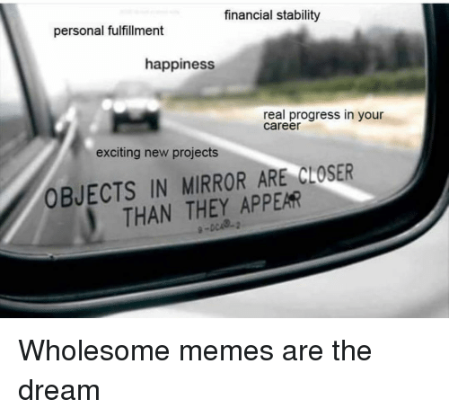 Memes, Mirror, and Wholesome: financial stalbility  personal fulfillment  happiness  real progress in your  career  exciting new projects  OBJECTS IN MIRROR ARE CLOSER  THAN THEY APPEAR Wholesome memes are the dream