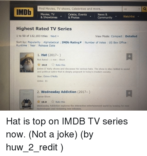 Community, Movies, and News: Find Movies, TV shows, Celebrities and more.  A! Q  IMDb  Movies, TV  Celebs, Events  & Showtimes  & Photos  News &  Watchlist  Community  Highest Rated TV Series  1 to 50 of 132,183 titles Next  View Mode: Compact Detailed  Sort by: Popularity Alphabetical  IMDb Ratingv Number of Votes US Box Office  Runtime Year Release Date  1. Hat (2017-)  Not Rated l 1 min Short  Rate this  10.0  Eirinn ov Kelly shows and discusses his various hats. The show is also riddled in social  and political satire that is deeply poignant in today's modern society.  Star: Eirinn o Kelly  Votes: 11  2. Wednesday Addiction (2017-)  Rate this  10.00  Wednesday Addiction explores the interactive entertainment world by looking for new  technologles and reviewing new releases.