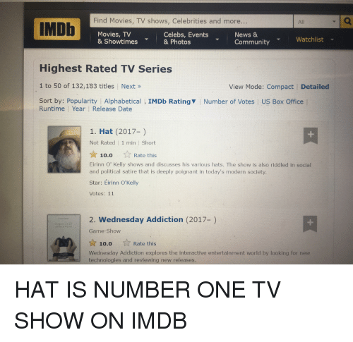 Community, Movies, and News: Find Movies, TV shows, Celebrities and more  All  IMDb  Movies, TV  Celebs, Events  News &  Watchlist  & Showtimes  & Photos  Community  Highest Rated TV Series  1 to 50 of 132,183 titles Next  View Mode: Compact Detailed  Sort by: Popularity I Alphabetical IMDb Ratingv Number of Votes l US Box Office  Runtime Year Release Date  1. Hat (2017-  Not Rated 1 min Short  Rate this  10.0  Eirinn O' Kelly shows and discusses his various hats. The show is also riddled in social  and political satire that is deeply poignant in today's modern society  Star: Eirinn O'Kelly  Votes: 11  2. Wednesday Addiction (2017-)  Game-Show  Rate this  10.0  Wednesday Addiction explores the interactive entertainment world by looking for new  technologies and reviewing new releases
